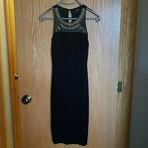 Black with beaded top form fitting dress